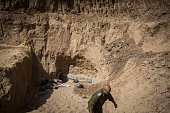 Overview of a tunnel built underground by Hamas militants leading from the Gaza Strip into Southern Israel seen on August 4 2014 near the Israeli...