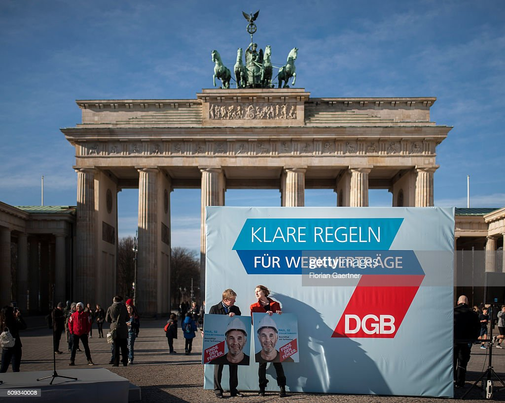 Overview of an action of the German Confederation of Trade Unions (DGB - Deutscher Gewerkschaftsbund) on February 10, 2016 in Berlin. The action picks out as a central theme the conditions of service contracts.