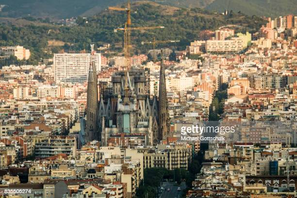 Overview of Barcelona with Sagrada Familia Church by Antonio Gaudi on August 19 2017 in Barcelona Spain