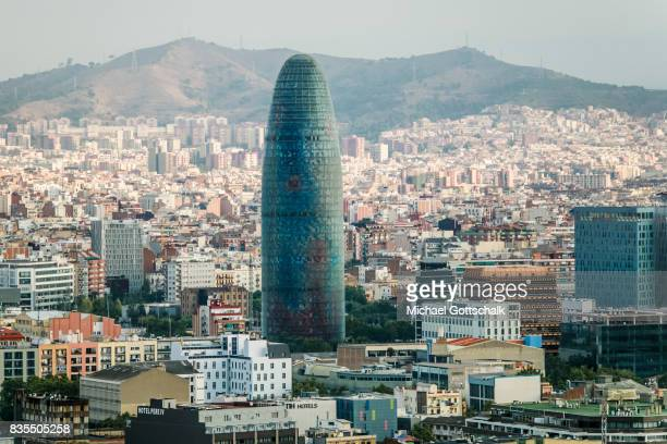 Overview of Barcelona with Torre Agbar building on August 19 2017 in Barcelona Spain