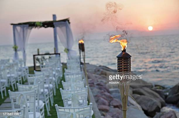 Overview of beautiful wedding ceremony at sunset