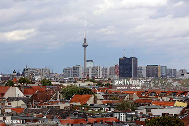 Overview of Berlin City with Berlin Fernsehturm or television tower on September 05 2015 in Berlin Germany