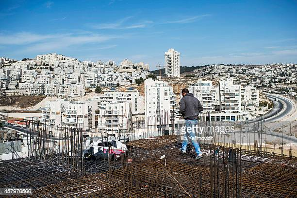 Overview of construction site of Israeli settlement 'HarHoma' on October 28 2014 in Jerusalem Israel The Israeli government has approved 1000 new...