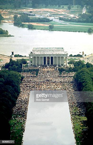 Overview of crowd on the mall in front of Lincoln Memorial during Martin Luther King Jr's famous 'I Have A Dream' speech 28th August 1963