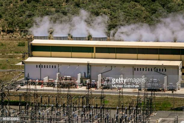 Overview of Environmentally friendly and renewable energy generation in the KenGen or Kenya General Energy Olkaria geothermal power station II in...