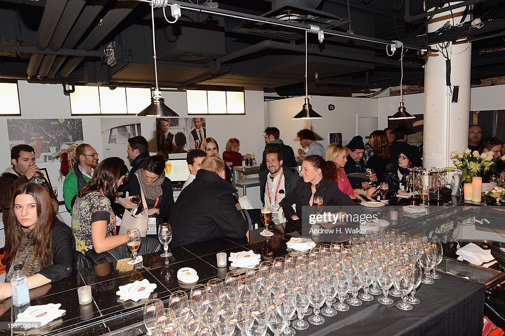 Overview of interior atmosphere during the Stella Artois launch of the Timeless Beauty Campaign shot by legendary photographer, Annie Leibovitz at Village at the Lift on January 18, 2013 in Park City, Utah.