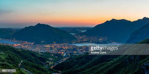 Overview of Lecco at twilight. Morterone, Lecco, Lombardy