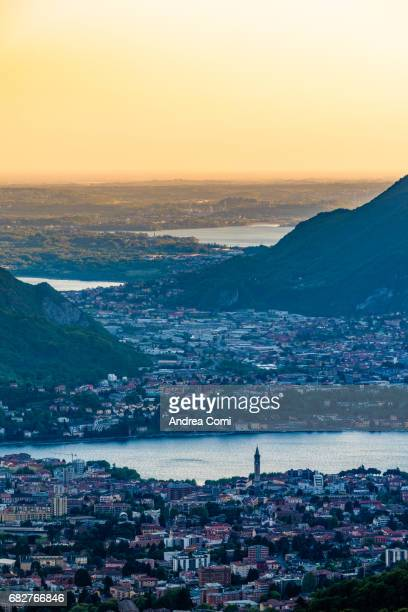 Overview of Lecco city at sunset. Morterone, Lecco, Lombardy