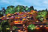 Overview of Lijiang old town at dusk.