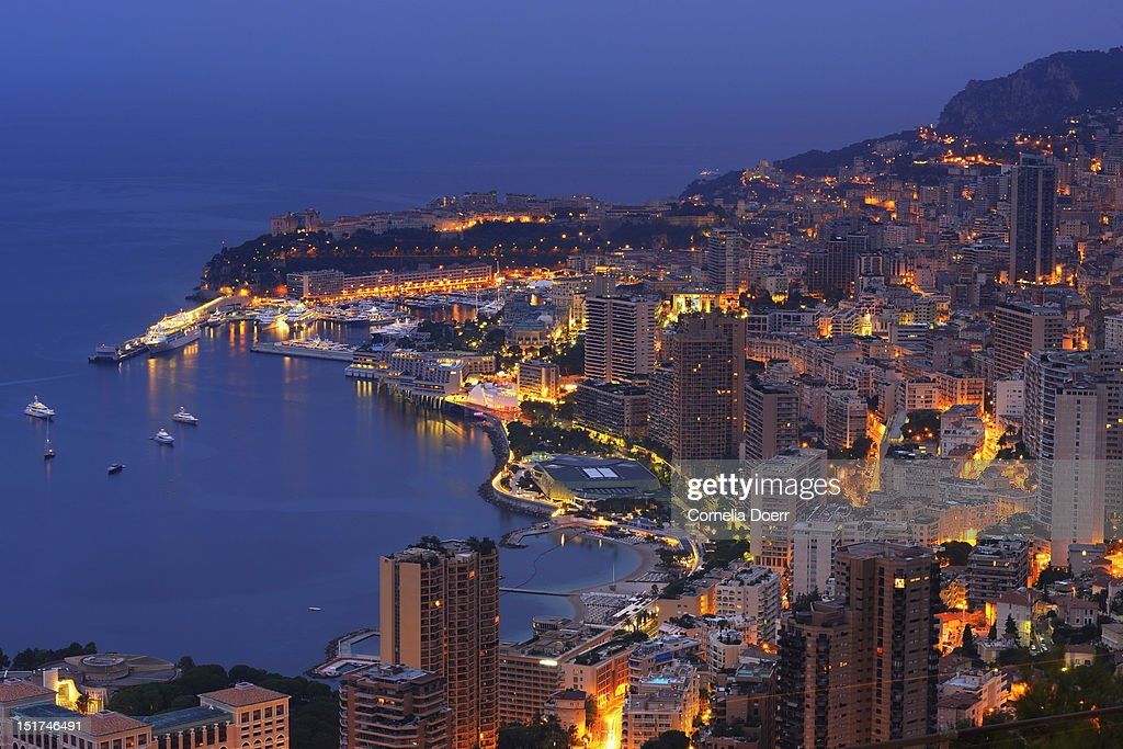 Overview of Monaco at night : Stock Photo