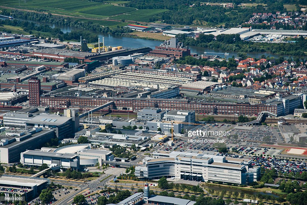 Overview of Opel Plant next to River Main on July 20 2016 in Ruesselsheim Germany