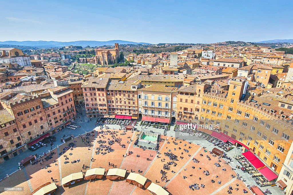 Overview of Piazza del Campo, Siena, Italy