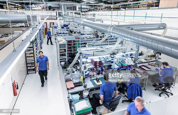 Overview of production line in electronics factory