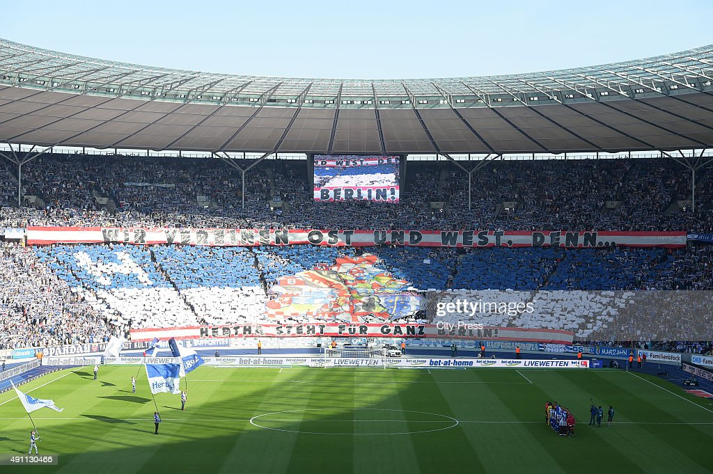 Overview of the choreography of the Hertha fans during the Bundesliga match between Hertha BSC and Hamburger SV on October 3, 2015 in Berlin, Germany.