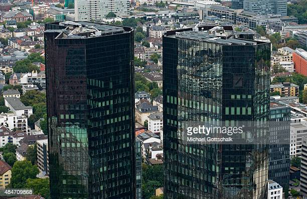 Overview of the City of Frankfurt / Main with the Deutsche Bank Headquarters on August 14 2015 in Frankfurt Germany