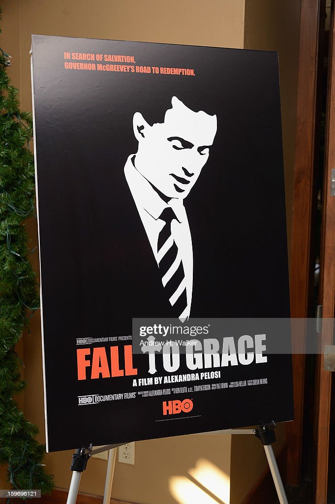 Overview of the 'Fall To Grace' poster during the 'Fall To Grace' and 'The Battle Of AMFAR' Brunch hosted by HBO on January 18, 2013 in Park City, Utah.