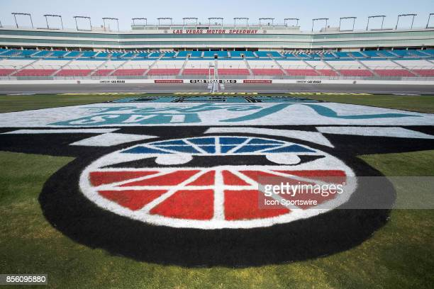 Overview of the infield grass logo and grandstands prior to the Las Vegas 350 NASCAR Camping World Truck Series race on September 30 2017 at Las...