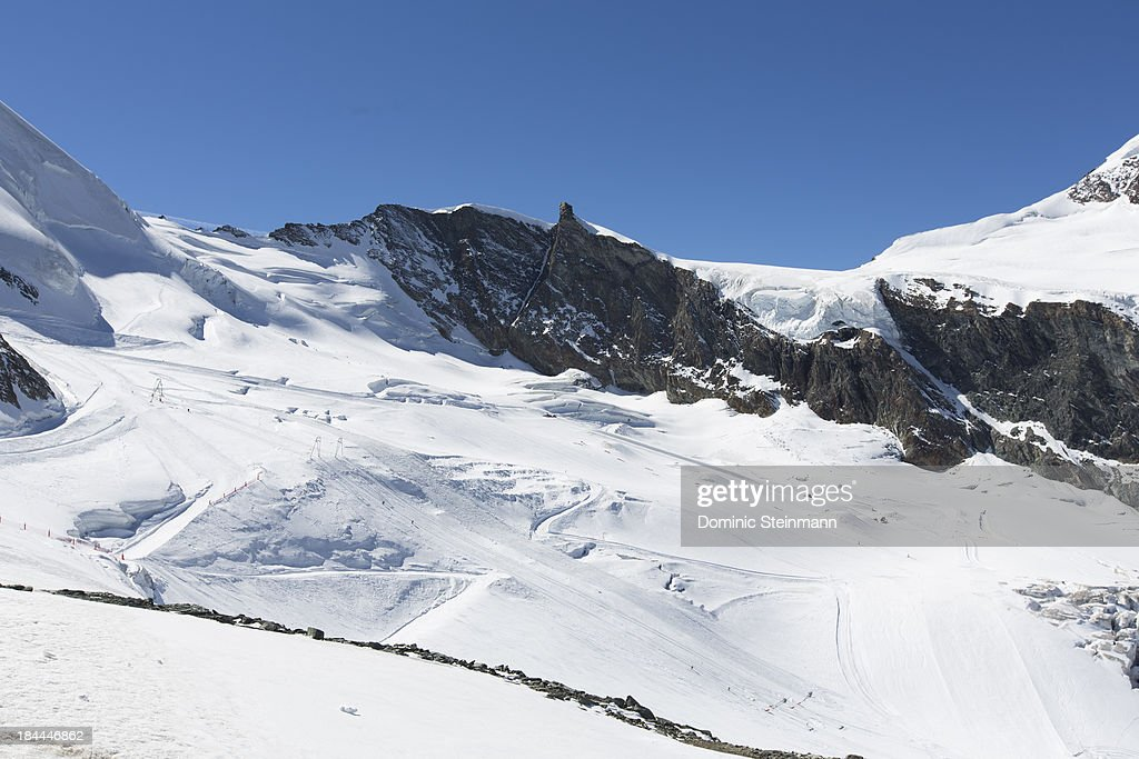 Overview of the summer ski slopes located on the Fee glacier starting on 3500 meters altitude on September 23, 2013 in Saas-Fee, Switzerland.