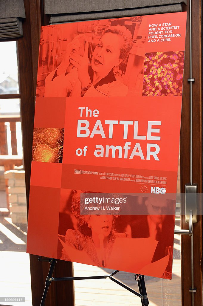 Overview of the 'The Battle Of AMFAR' poster during the 'Fall To Grace' and 'The Battle Of AMFAR' Brunch hosted by HBO on January 18, 2013 in Park City, Utah.