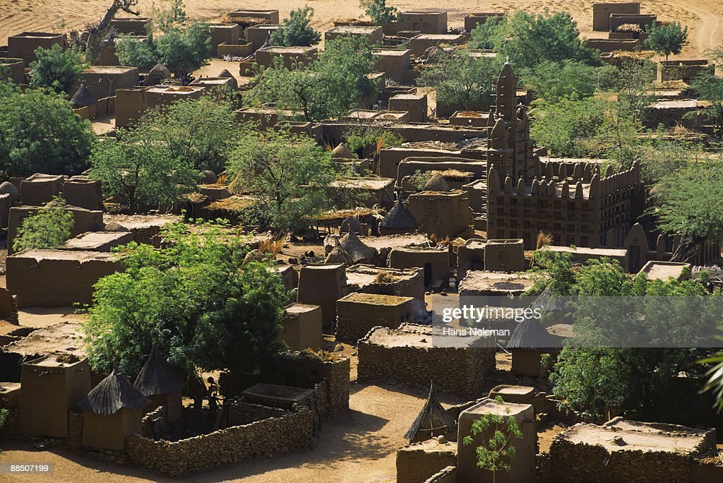 Overview of typical village in the Sahel Region : Stock Photo