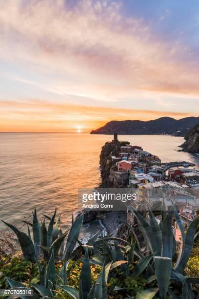 Overview of Vernazza at sunset. Cinque Terre, La Spezia, Liguria