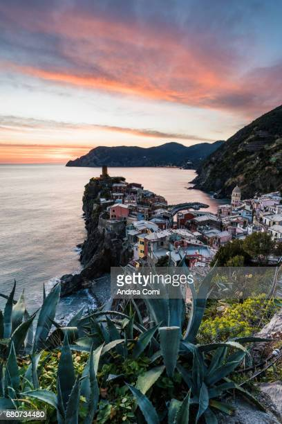Overview of Vernazza at sunset. Vernazza, Cinque Terre, La Spezia, Liguria