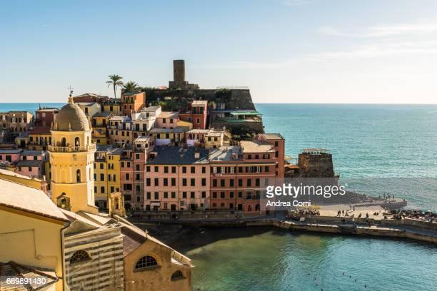 Overview of Vernazza village. Cinque Terre, La Spezia, Liguria.