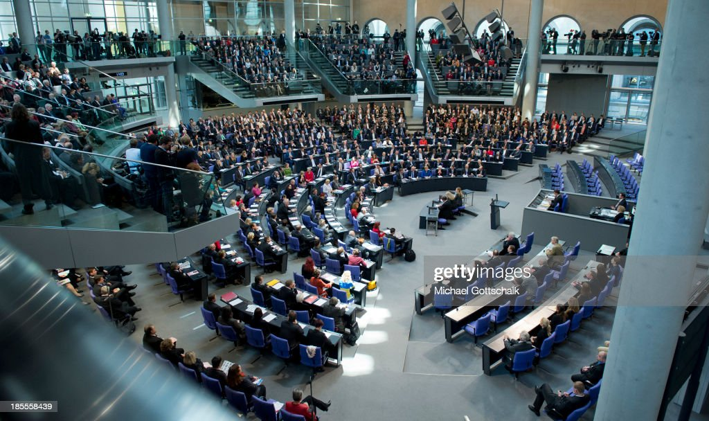 A overview over the plenary hall during the inaugural session of the German Bundestag on October 22 2013 in Berlin Germany The sessions heralds the...