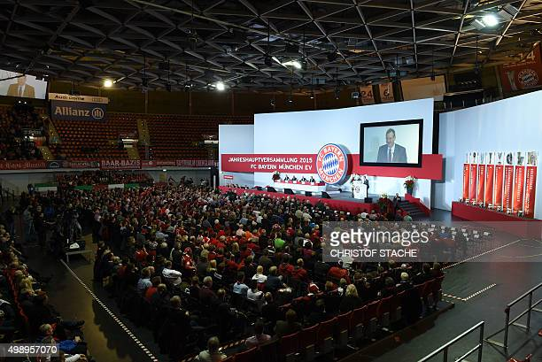 Overview picture of the shareholders meeting of the German first division Bundesliga team FC Bayern Munich in Munich southern Germany on November 27...