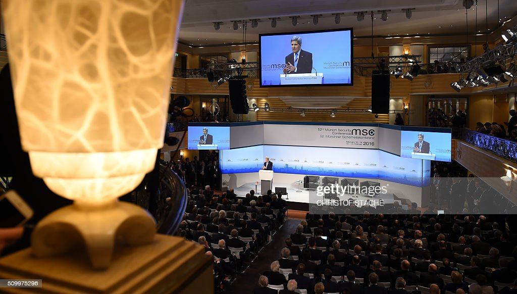 Overview pictured during the statement of US Secretary of State John Kerry at the second day of the 52nd Munich Security Conference (MSC) in Munich, southern Germany, on February 13, 2016. / AFP / Christof STACHE