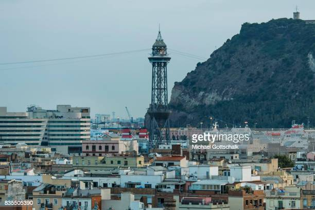 Overview with one tower of the funicular on August 18 2017 in Barcelona Spain