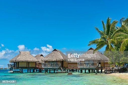 Overwater bungalows, Bora Bora, French Polynesia, South Pacific, Oceania