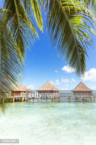 Overwater bungalows in the lagoon of Rangiroa