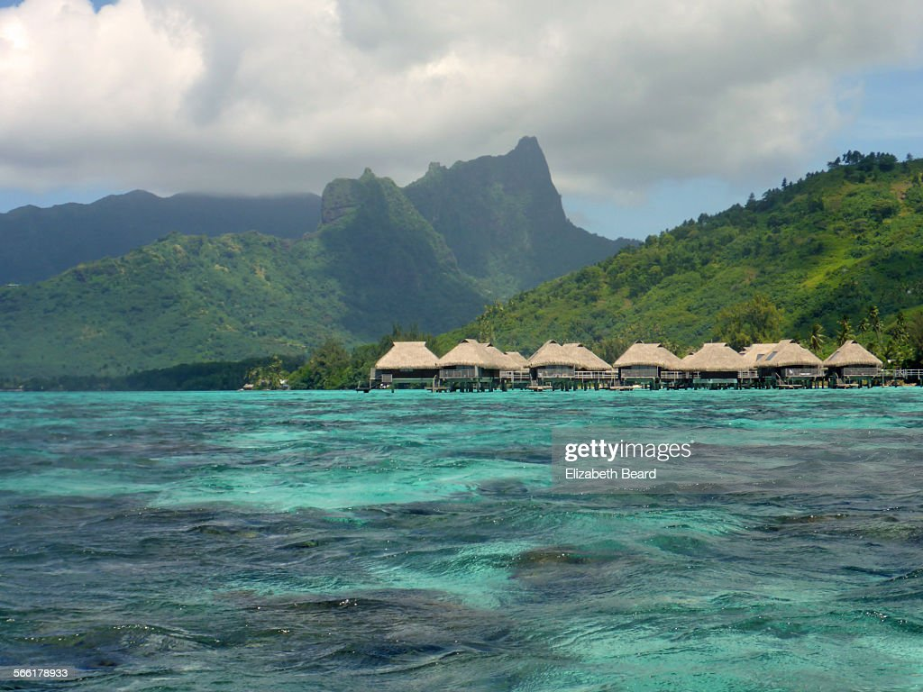 Overwater bungalows on island of Moorea