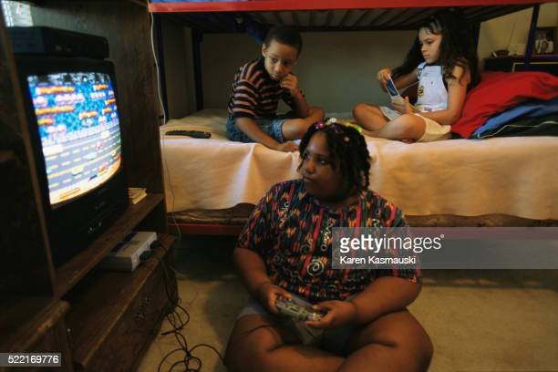 Overweight Girl Playing Video Games