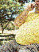 Übergewichtige Mann aus Ungesunde Lebensmittel
