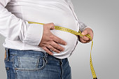 Overweight Man Measuring His Belly with tape measure