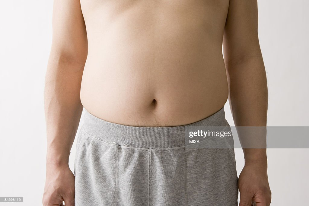 Overweight man's stomach