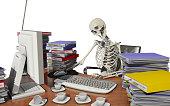 overwork death with white background