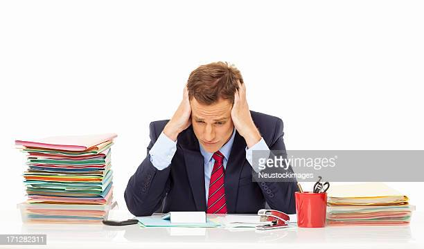 Overworked Businessman - Isolated