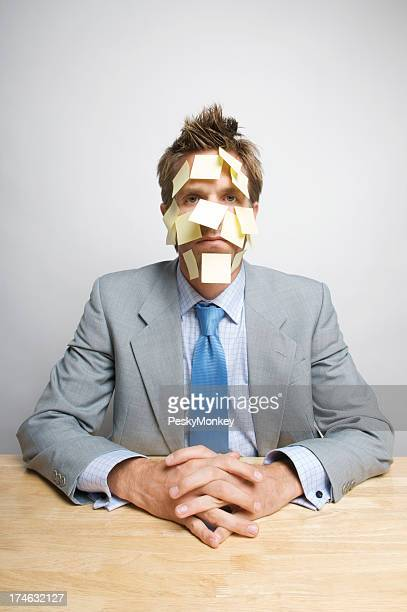 Overworked Sticky Notes Face Businessman Office Worker Sitting at Desk