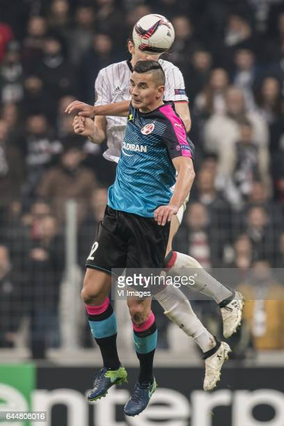Ovidiu Hoban of Hapoel Beer Sheva Atinc Nukan of Besiktas JKduring the UEFA Europa League round of 16 match between Besiktas JK and Hapoel Beer Sheva...