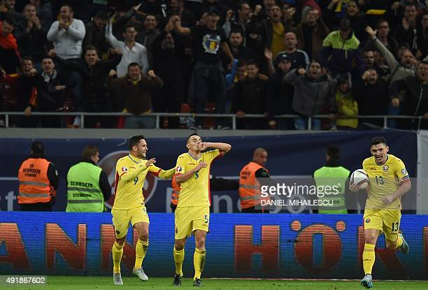 Ovidiu Hoban of Romania celebrates after scoring the Euro 2016 Group F qualifying football match between Romania and Finland at the National Arena in...