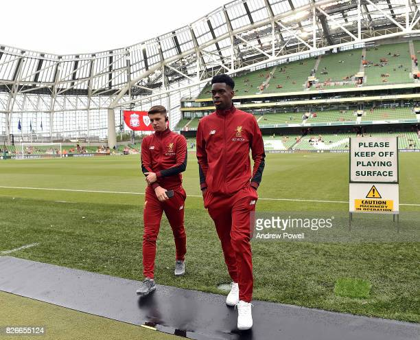 Ovie Ejaria and Ben Woodburn of Liverpool have a look at the pitch before a pre season friendly match between Liverpool and Athletic Bilbao at Aviva...