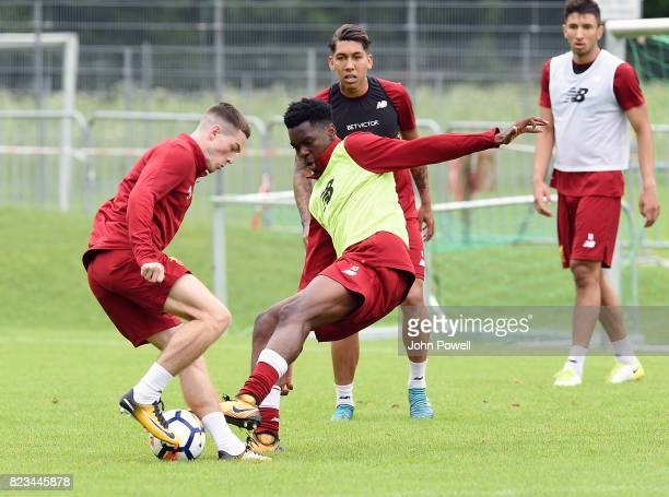 Ovie Ejaria and Ryan Kent of Liverpool during a training session at RottachEgern on July 27 2017 in Munich Germany