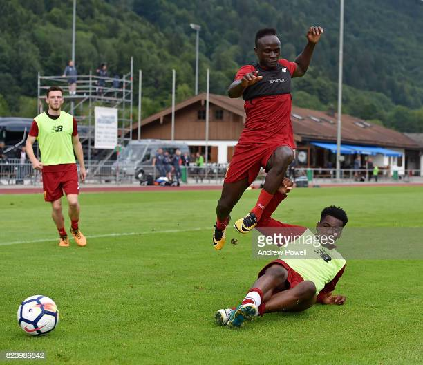 Ovie Ejaria and Sadio Mane of Liverpool during a training session at RottachEgern on July 28 2017 in Munich Germany