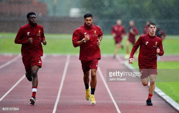 Ovie Ejaria Emre Can and Ben Woodburn of Liverpool during a training session at RottachEgern on July 26 2017 in Munich Germany