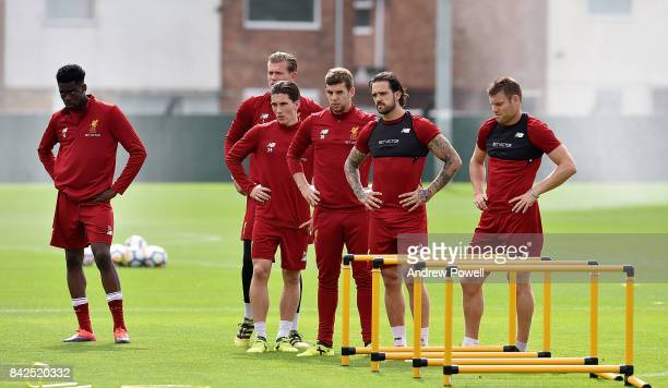 Ovie Ejaria Loris Kauis Harry Wilson Jon Flanagan Danny Ings and James Milner of Liverpool during a training session at Melwood Training Ground on...