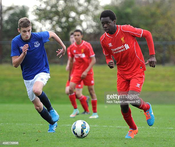 Ovie Ejaria of Liverpool and Joe Williams of Everton in action during the Barclays Premier League Under 18 fixture between Liverpool and Everton at...