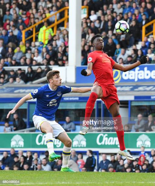 Ovie Ejaria of Liverpool and Joe Williams of Everton in action during the Everton v Liverpool Premier League 2 game at Goodison Park on May 8 2017 in...